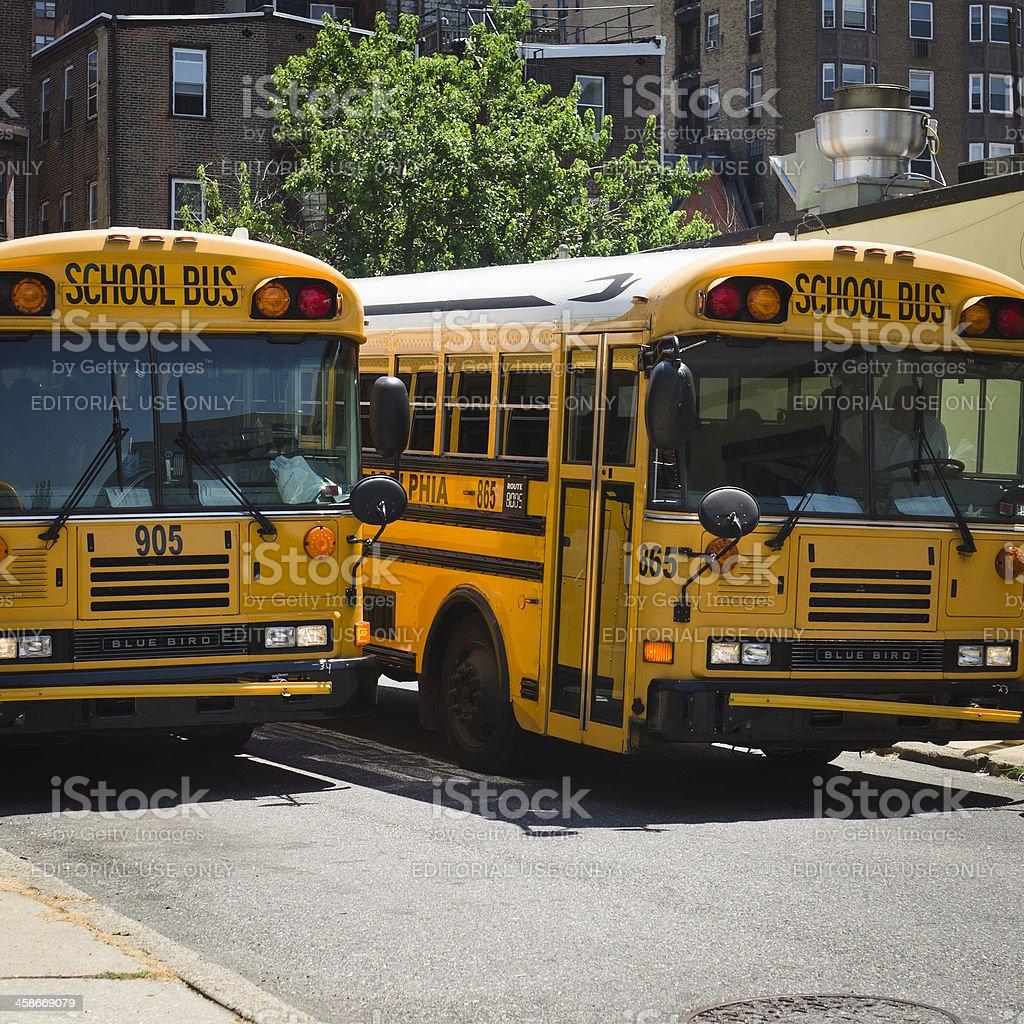 School bus in the centre of Philadelphia - USA royalty-free stock photo