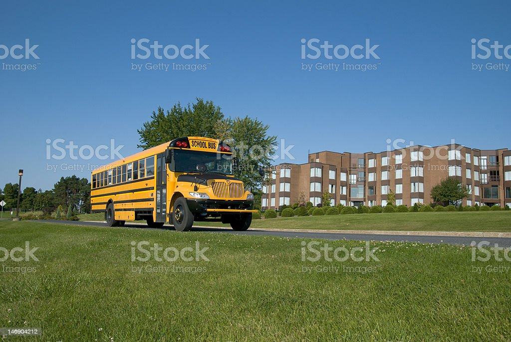 School Bus on a Bright Summer Day stock photo