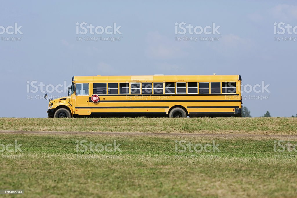 School Bus on Rural Country Road royalty-free stock photo