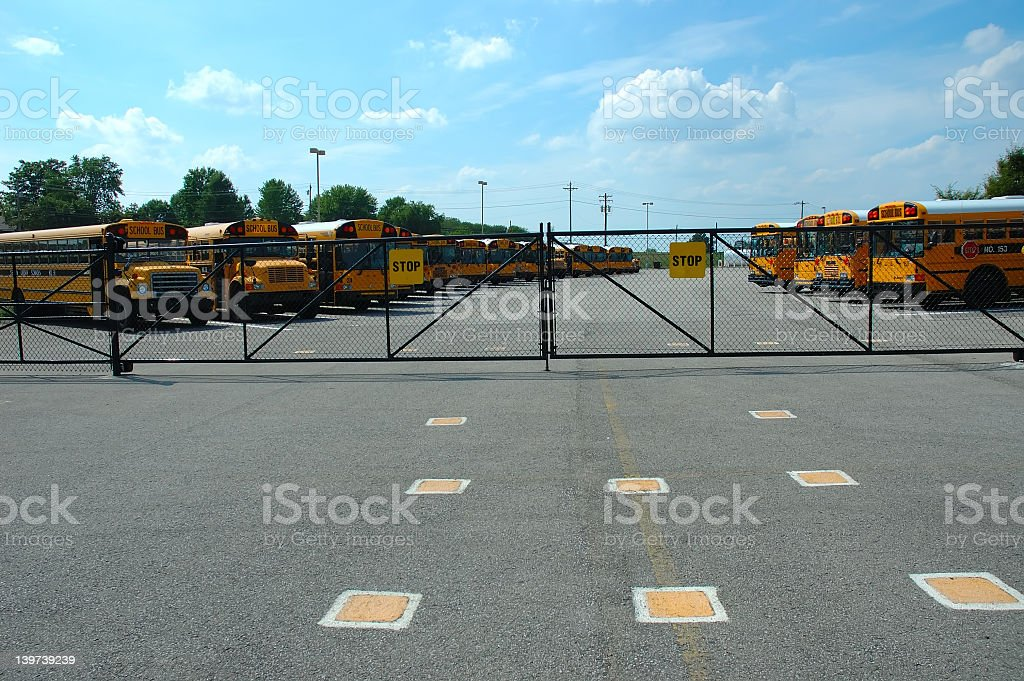 School Bus Parking Lot royalty-free stock photo