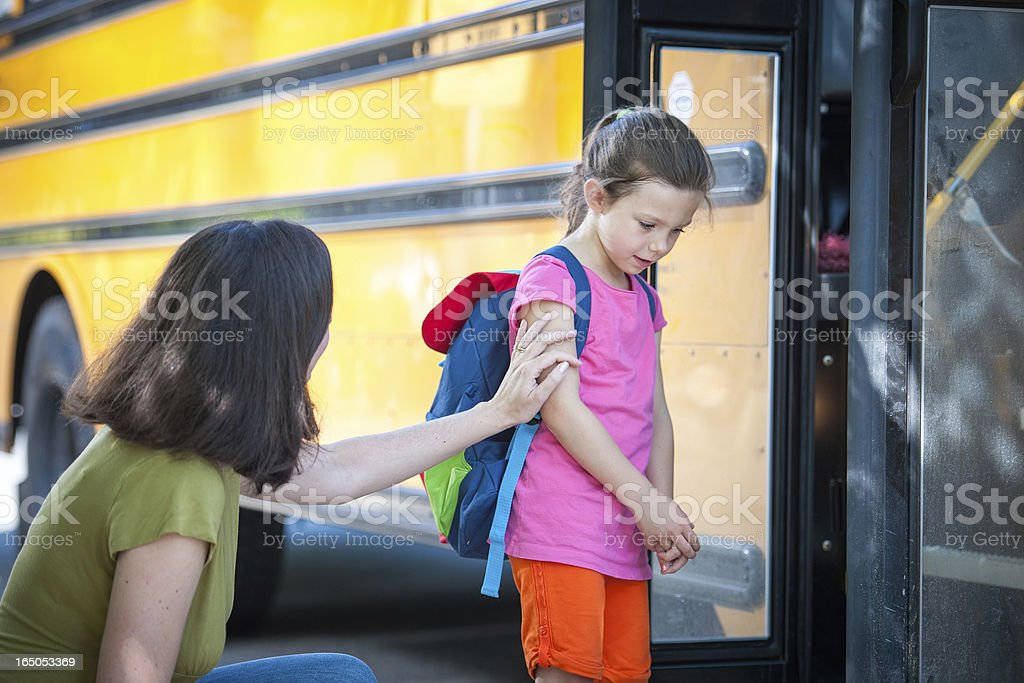 School Bus Series - Timid about Saying Goodbye stock photo