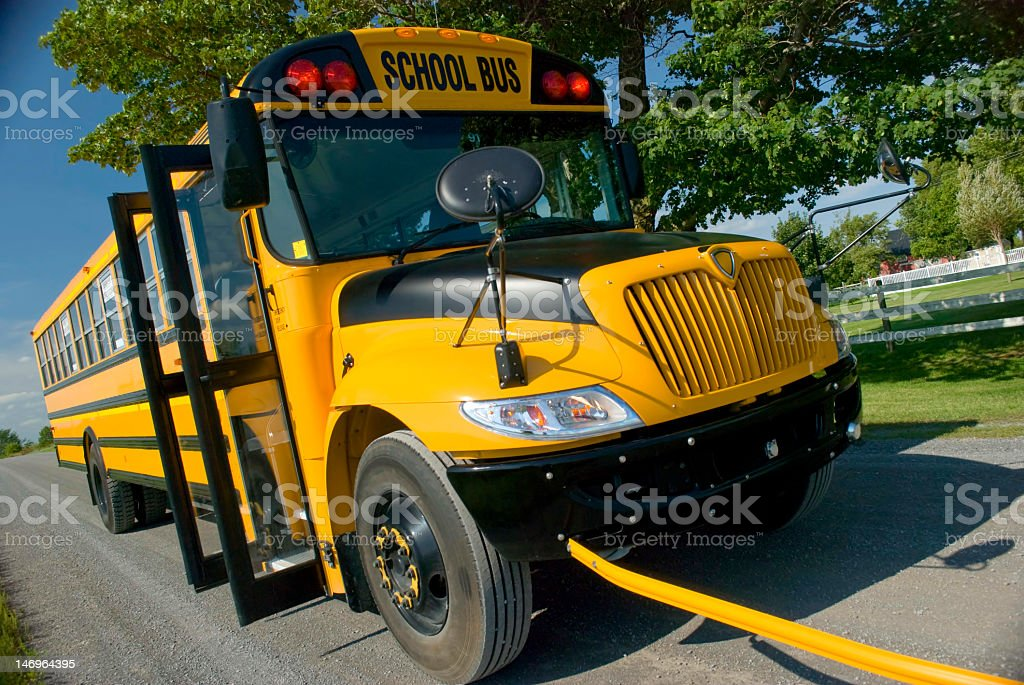 School Bus Stopped on road royalty-free stock photo