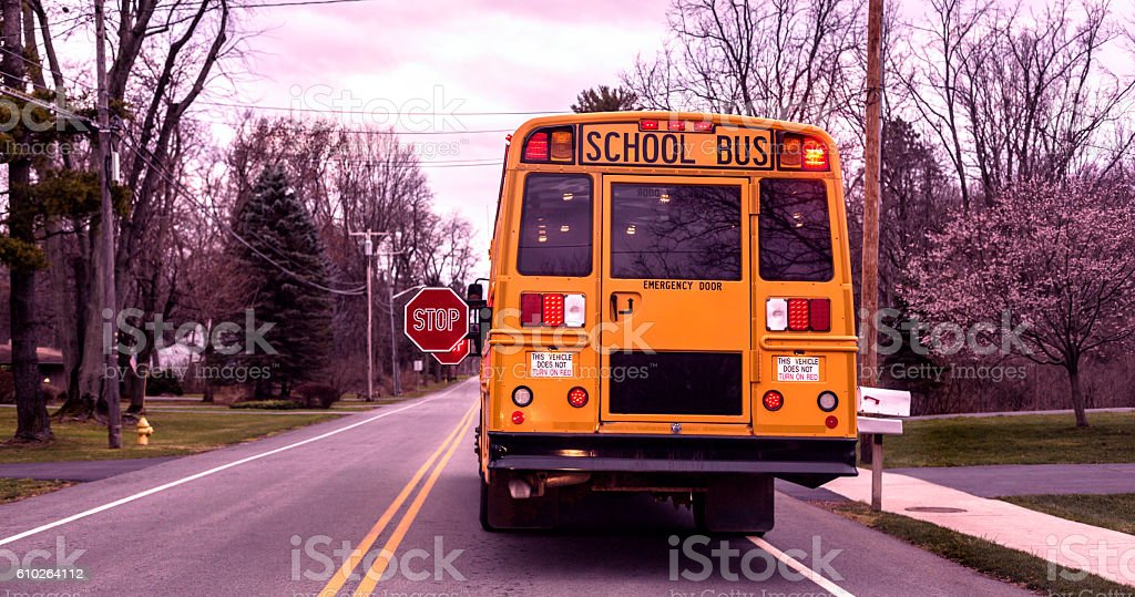 School Bus Stopped With Red Stop Signs And Flashing Lights stock photo