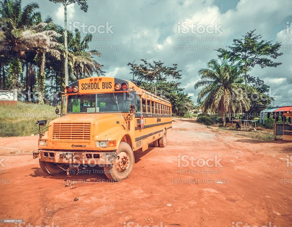 School bus. West Africa, Liberia stock photo