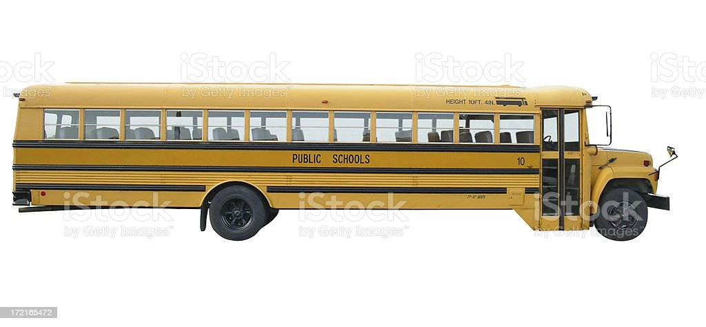 School bus with clipping path stock photo