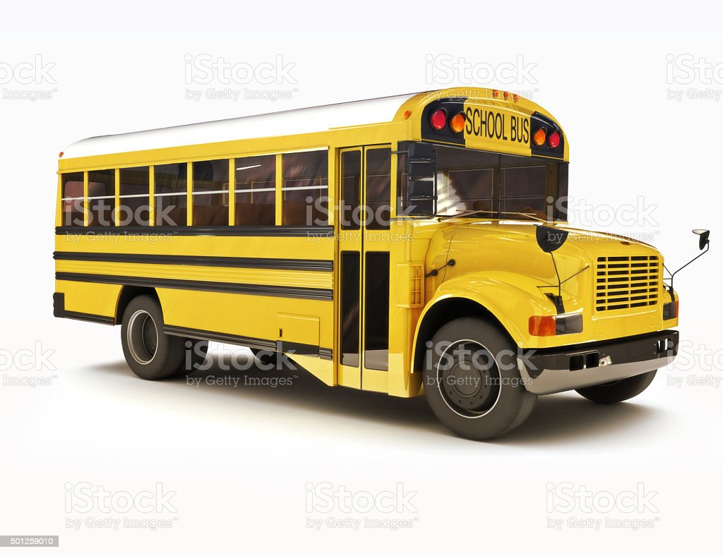 School bus with white top isolated on a white background stock photo