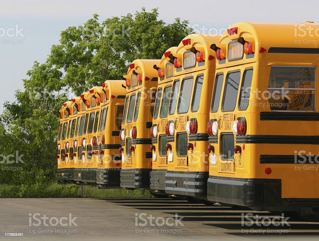 School Buses Parking royalty-free stock photo