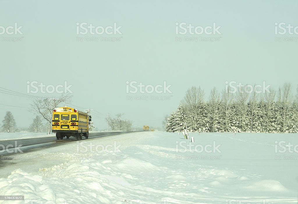 School Busses on Winter road royalty-free stock photo