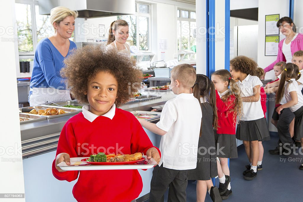 School Caferteria Line stock photo