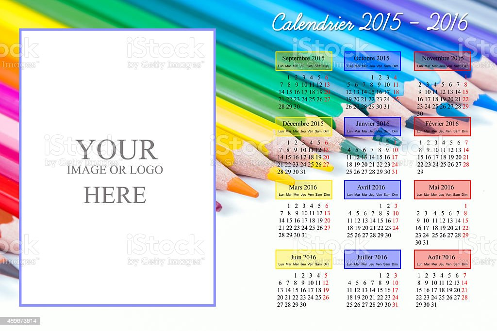 School calendar 2015 - 2016 stock photo