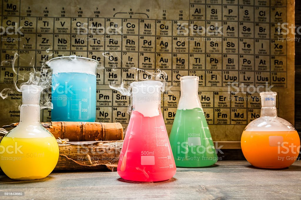 School chemical lab with periodic table of elements stock photo