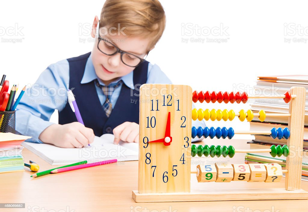 School Child Pupil Education, Clock Abacus, Students Boy in Glasses stock photo