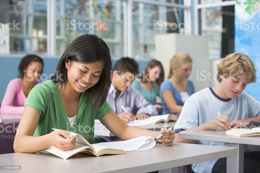 School children in highschool class stock photo