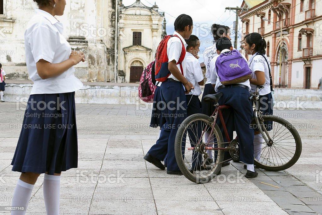 School children in Leon, Nicaragua stock photo