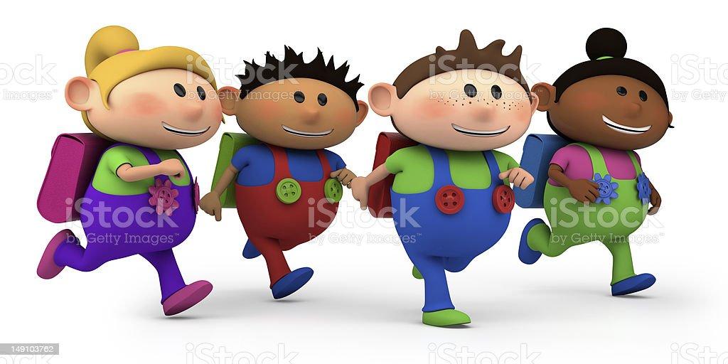 school children running stock photo