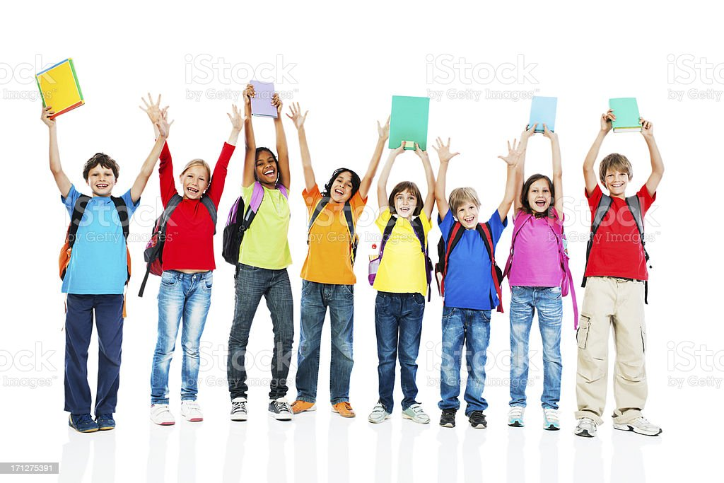 School children with backpacks and books. royalty-free stock photo