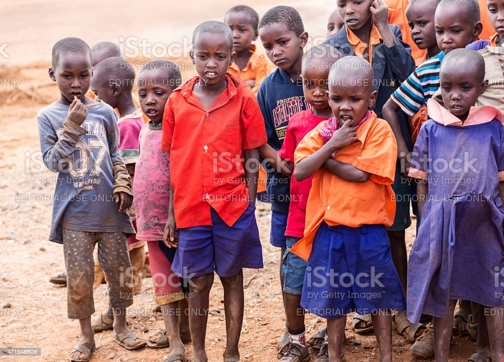 School childrend in maasai land. stock photo