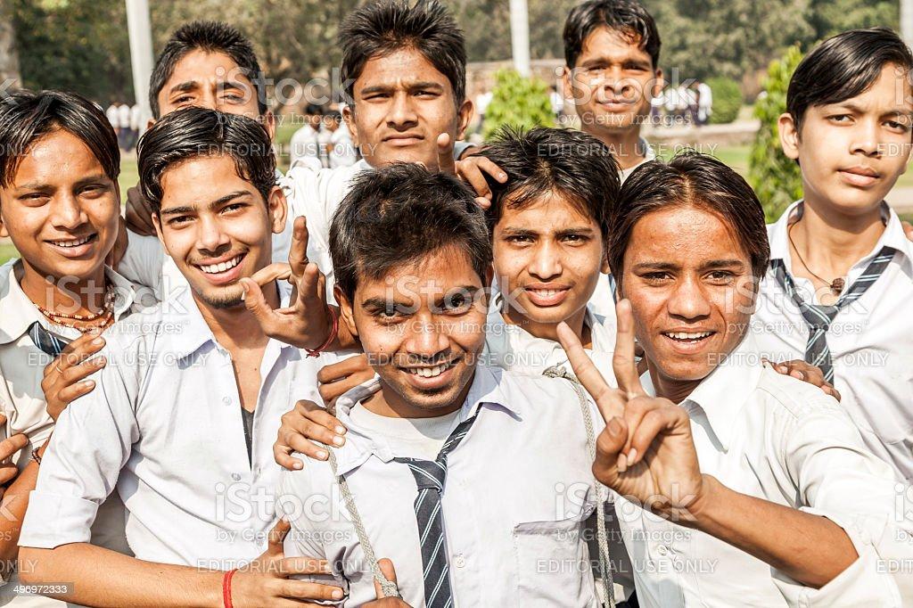 school class visits Humayun's Tomb in Delhi stock photo