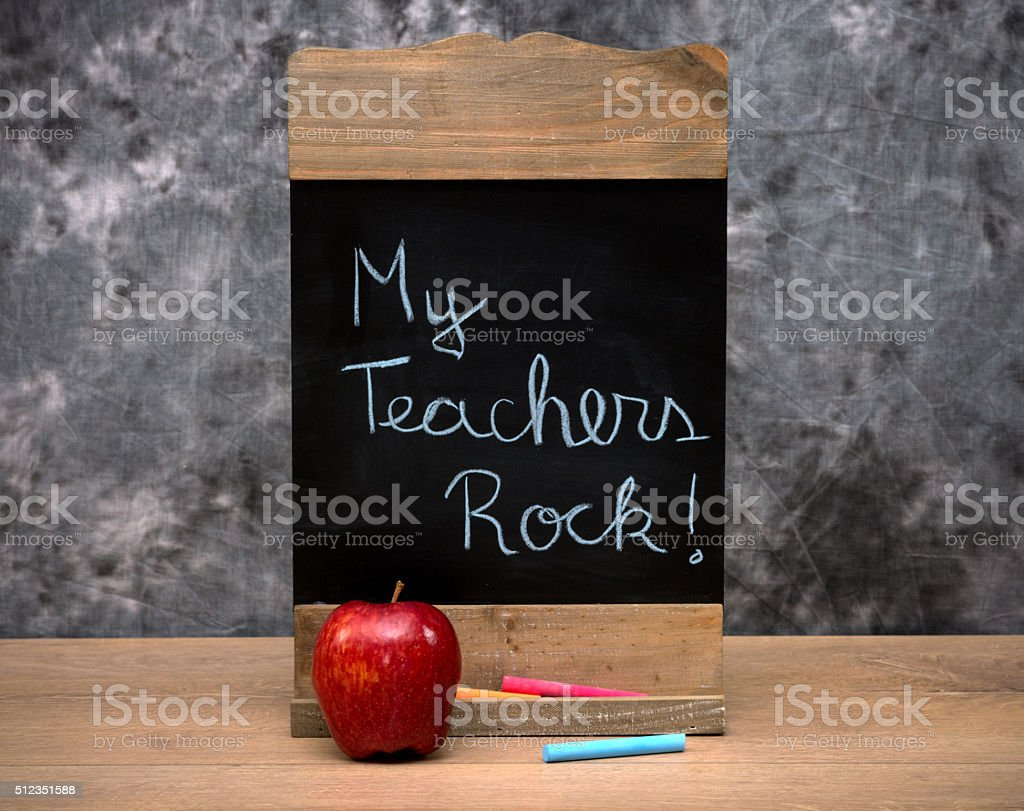 School concept with text on a wooden chalkboard stock photo