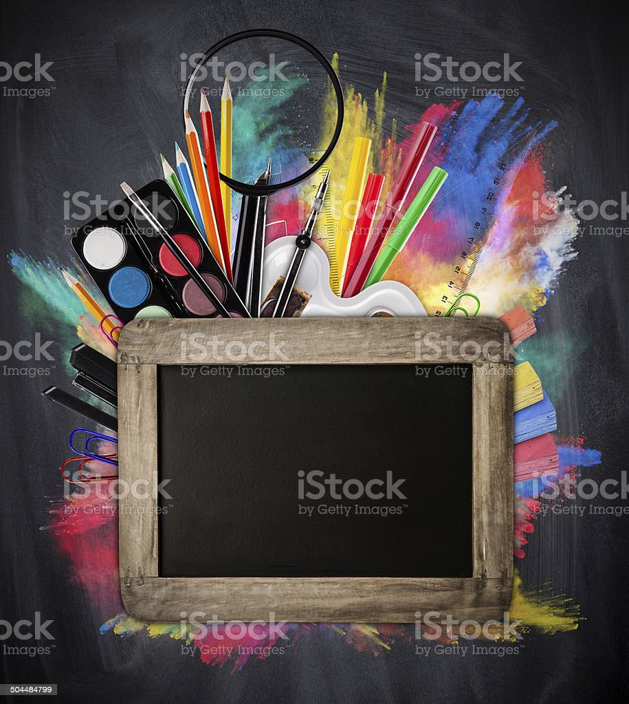 School concept with tools and blackboard stock photo