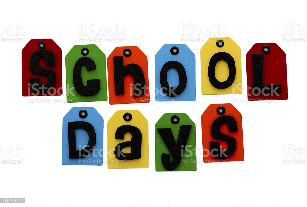 school days spelled out stock photo