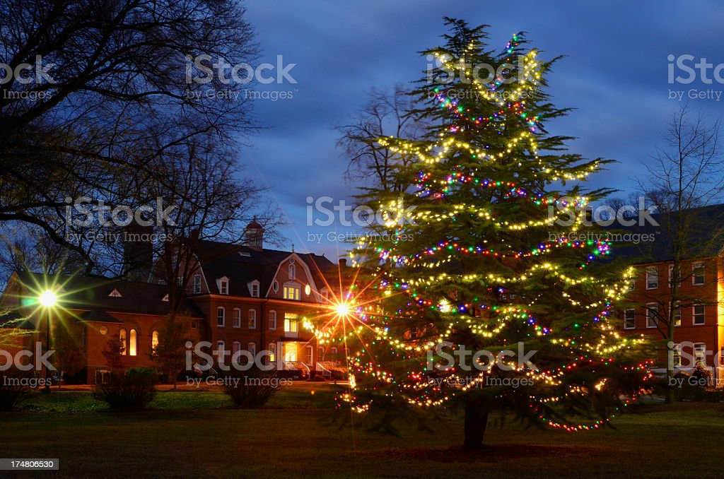 School Decorated for Christmas royalty-free stock photo
