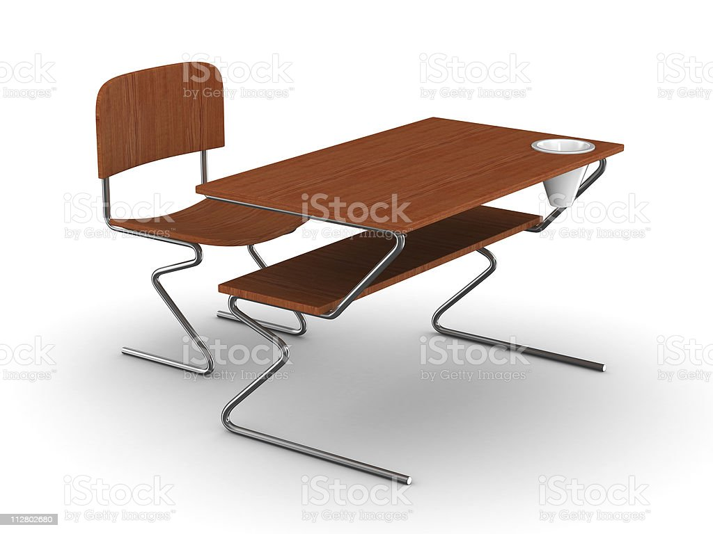 School desk and chair. Isolated 3D image royalty-free stock photo