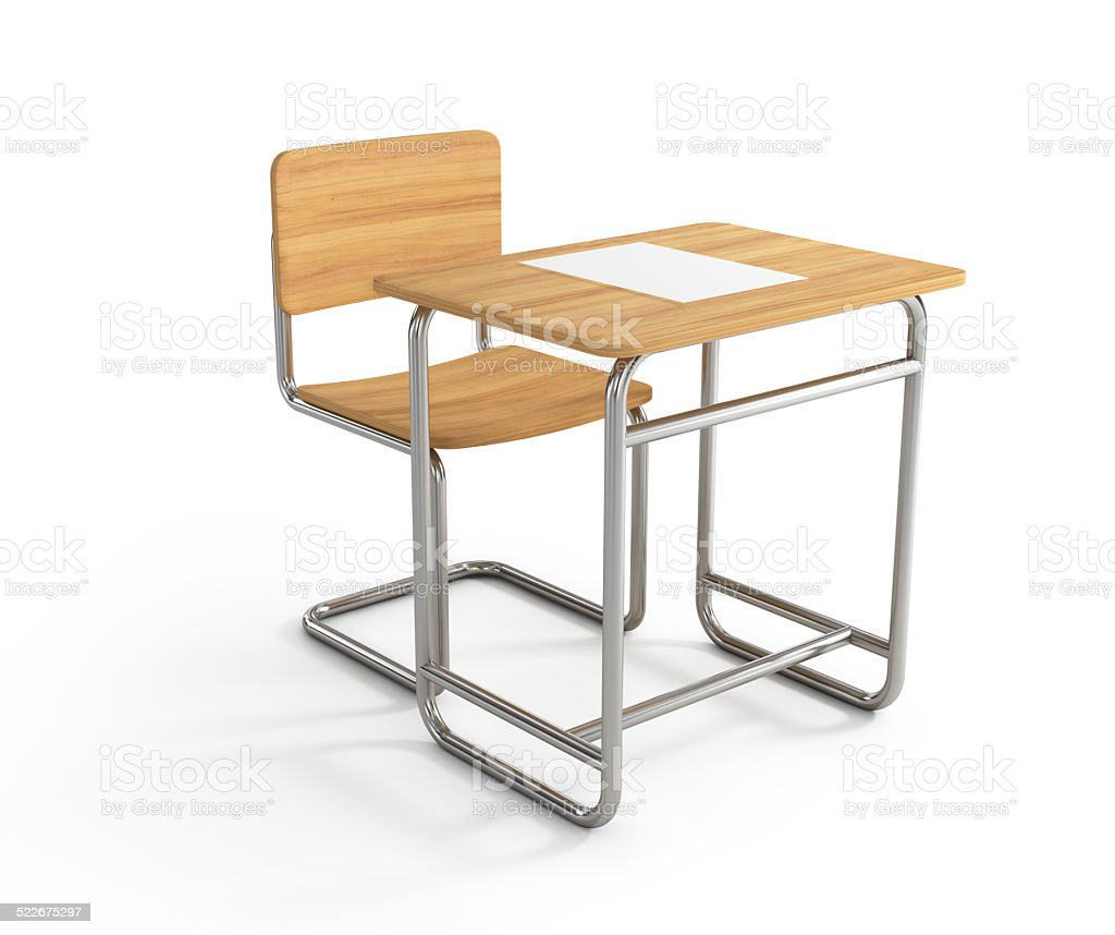school desk and chair on white background stock photo