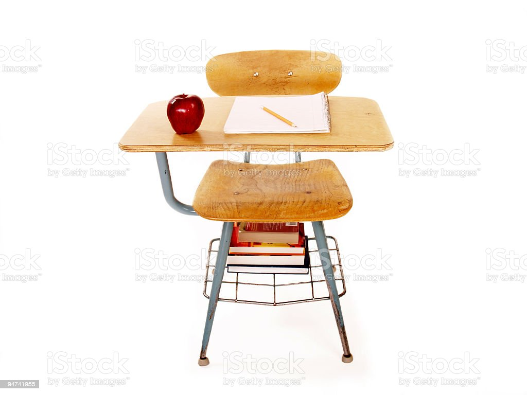 School Desk Front View royalty-free stock photo