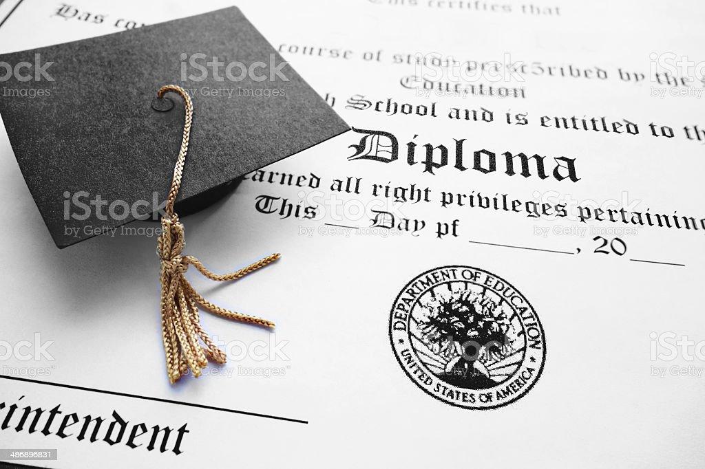 school diploma stock photo