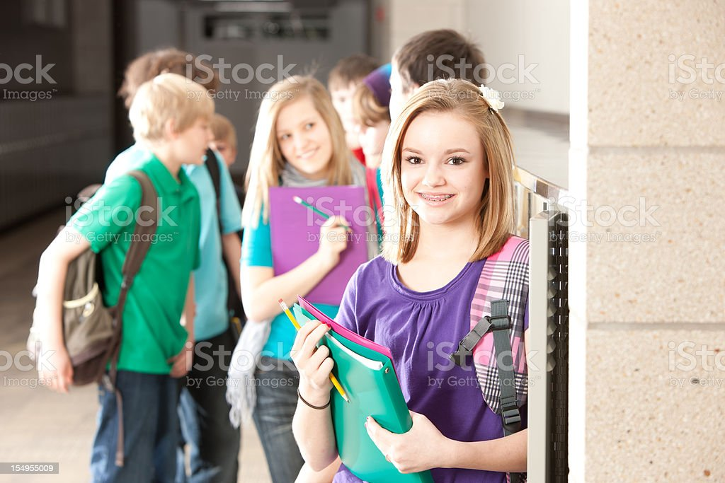 School Education:  Group of Students Talking at Lockers Head Shoulders royalty-free stock photo