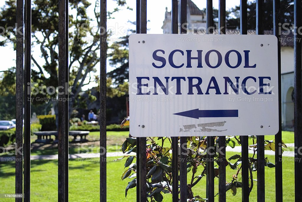 School Entrance Sign stock photo