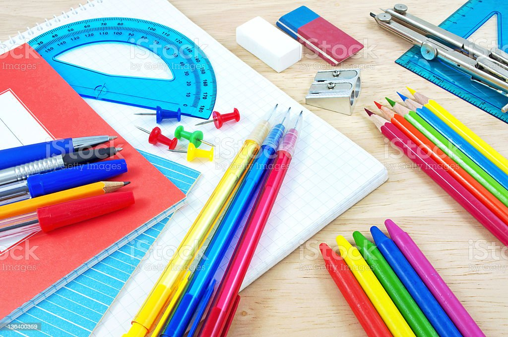 School equipment on writing desk royalty-free stock photo