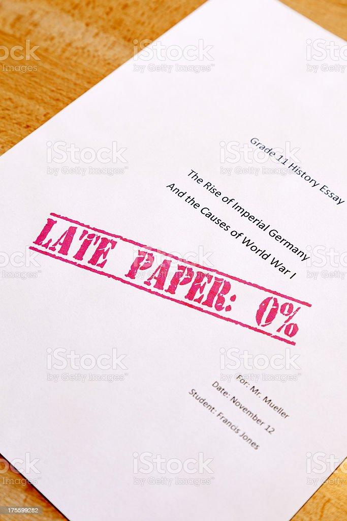School Essay with Mark of Zero royalty-free stock photo