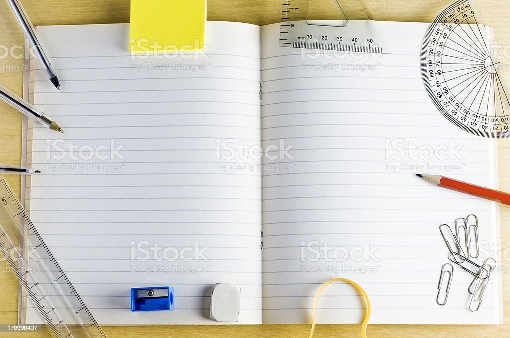 School Exercise Book with Stationery stock photo