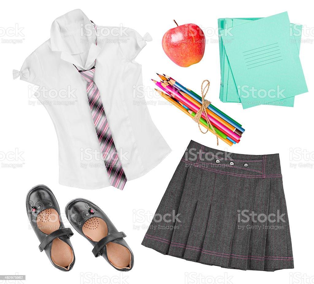 School female uniform clothing elements isolated on white background stock photo