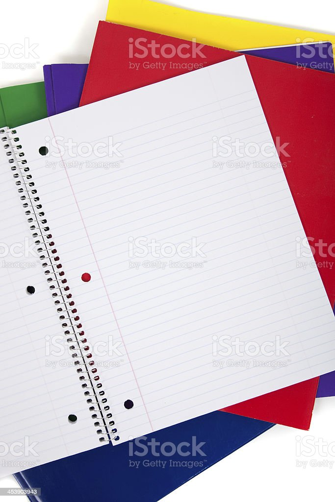 school folders with a blank notebook on white background stock photo