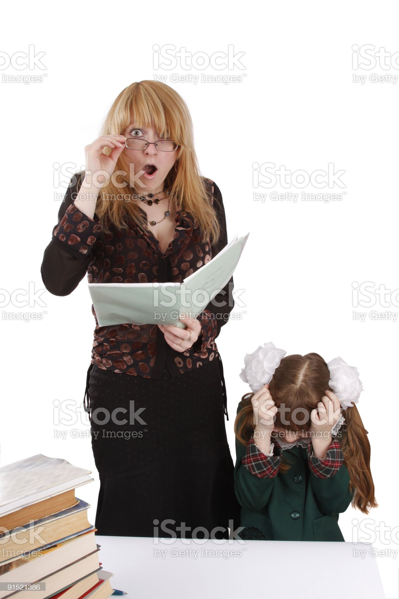 School girl gives teacher a shock. Education. royalty-free stock photo