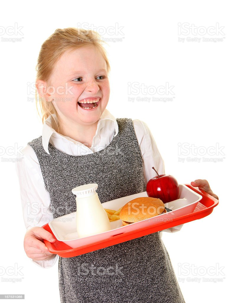 school girl laughing with lunch royalty-free stock photo