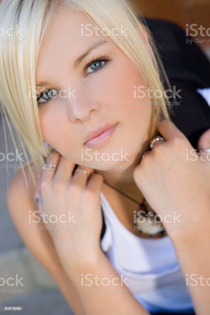 School Girl / Looking Up stock photo