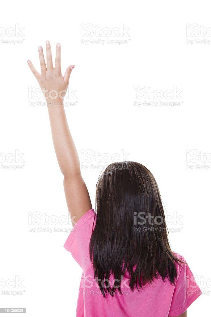 School Girl with Hand Raised stock photo