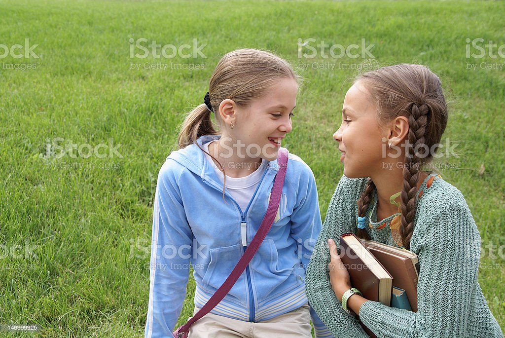 School girls outdoors royalty-free stock photo