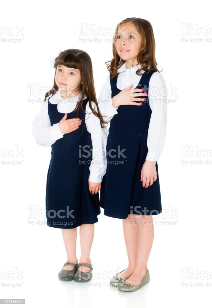 School Girls with Hands on Heart royalty-free stock photo