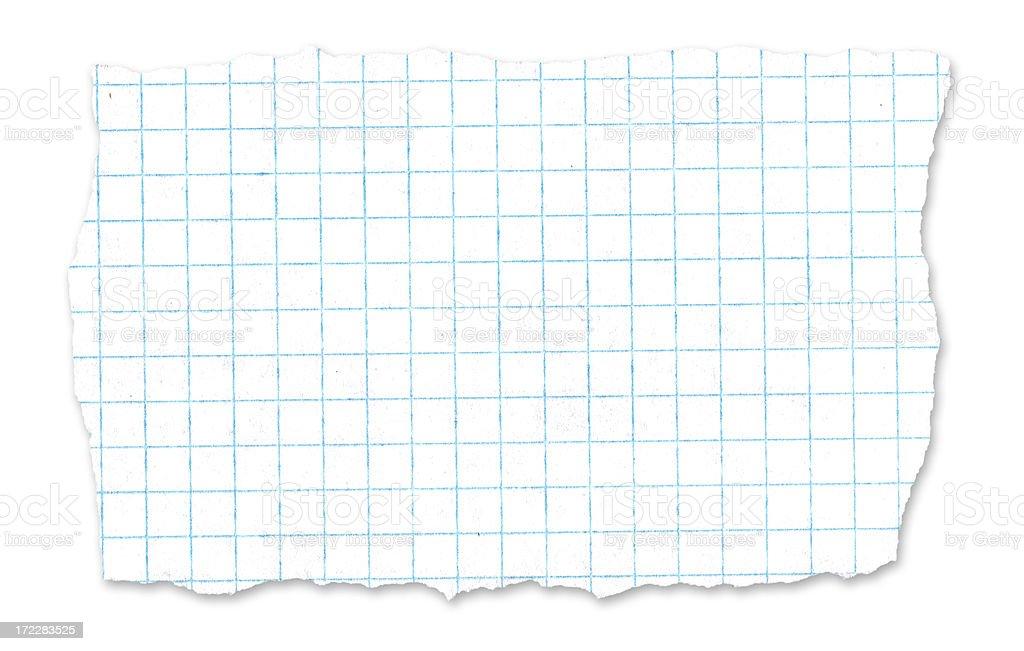 School graph paper tear - w/drop shadow royalty-free stock photo