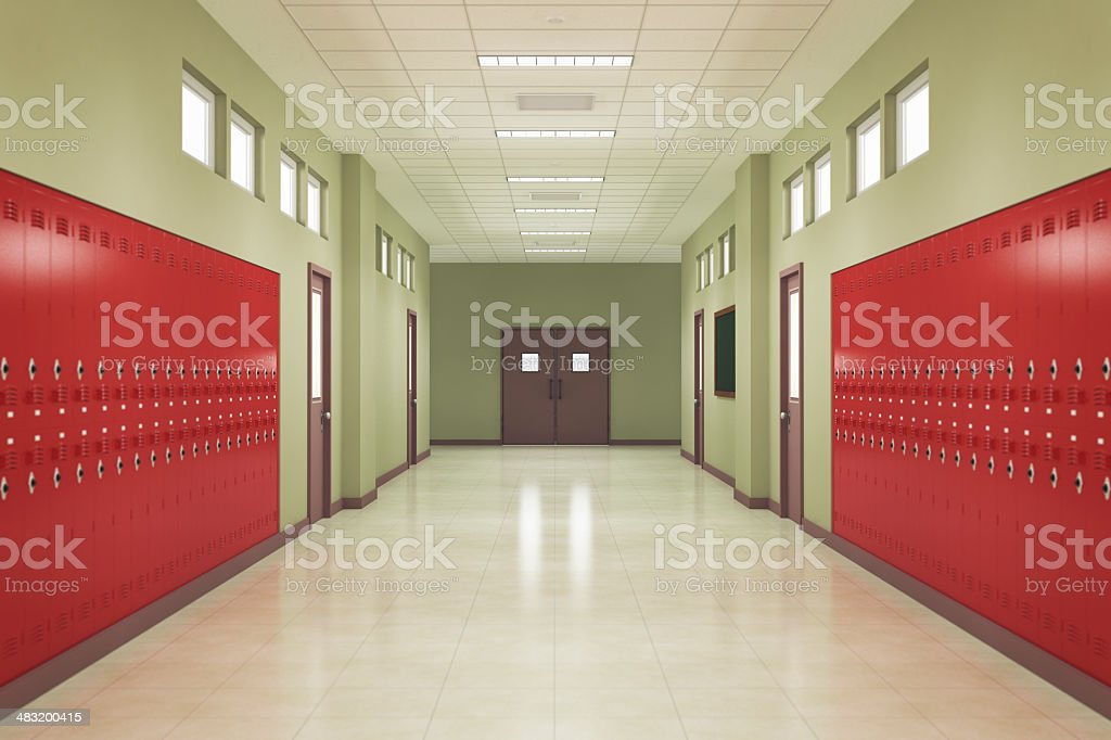 School Hallway stock photo