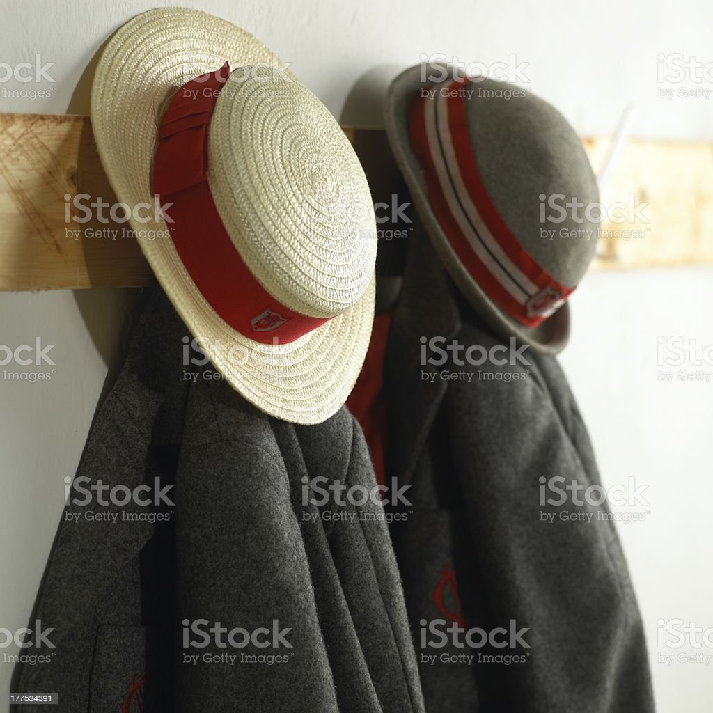 school hats and blazers royalty-free stock photo