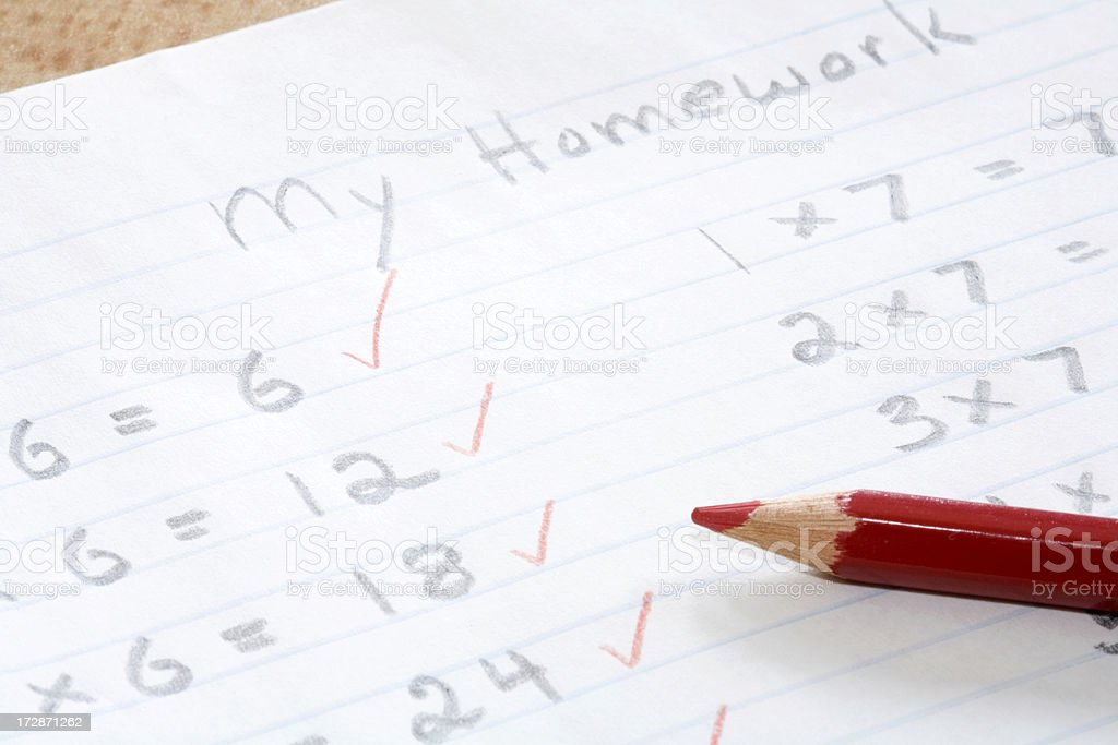 School Homework Correction stock photo