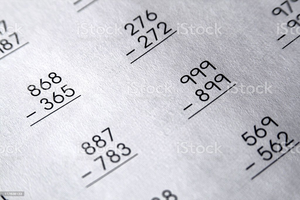 School Homework - Nostalgic Subtraction Problems royalty-free stock photo