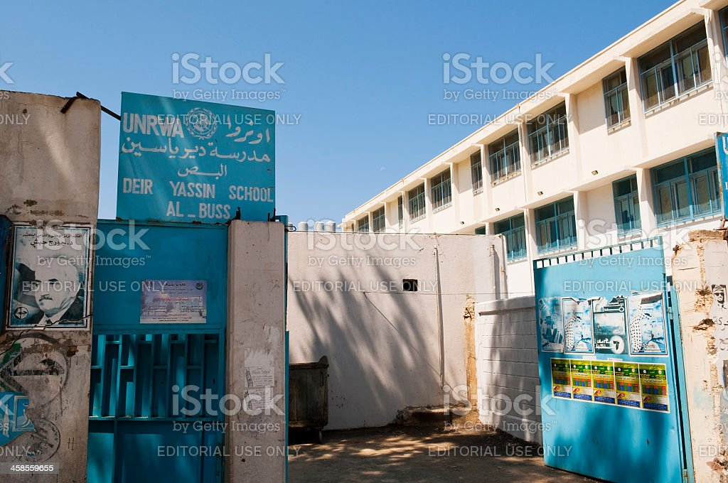 UNRWA school in Al-Bass Palestinian Refugee Camp in Tyre, Lebanon stock photo