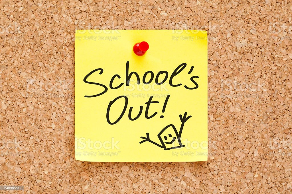 School Is Out Sticky Note stock photo